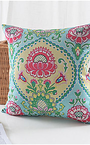 Country Flowers Pattern Cotton/Linen Decorative Pillow Cover