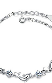 Women's Dolphins Amethyst  Sterling Silver  Chain Bracelet