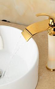 ארט דקו ברז כיור / רטרו מפל פליז ירקן גימור TI-PVD אמבטיה זהב