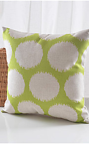 Green & White Pattern Cotton/Linen Decorative Pillow Cover