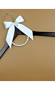 Wood Wedding Dress Hanger with Ivory Bow and Pearls