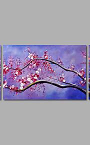 håndmalte oljemaleri på lerret veggen kunst abstrakte blomster lilla blomst tre-panel klar til å henge
