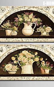e-home® strukket lerret kunst blomster i en blomsterpotte dekormaling sett 2