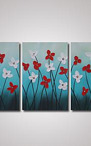 3 paneler moderne røde og hvide blomster oliemaleri på cavnas klar til at hænge