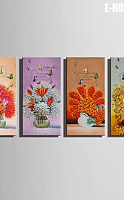 e-home® strukket lerret kunst blomster og sommerfugler dekorasjon maleri sett 4