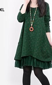 תפרי הדפסת צמחיית הצווארון העגול של הנשים משוחררות שרוול ארוך-קו בתוספת שמלת גודל