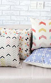 4st blända färg geometriska mönster örngott soffa heminredning kuddfodral (17,7 * 17,7 tum)