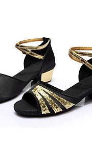 Non Customizable Women's Dance Shoes Latin Satin/Leatherette Customized Heel Black/Blue/Red