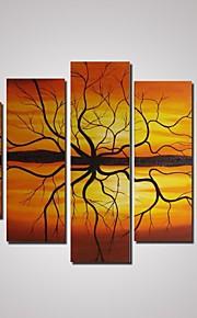 5 paneler abstrakt solnedgang og grene oliemaleri på cavnas uindrammede