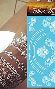 King Horse®Henna Wedding  Tattoo Stickers  White Color Non Toxic/Wedding /Hawaiian  20.5*10cm Flower Series 5pcs
