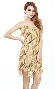 Latin Dance Dresses Women's Performance Polyester / Lycra Sequins / Tassel(s) 1 Piece