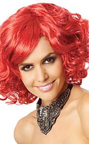 Europa och Förenta staterna röd peruk kort rullkvalitet lockigt hår mode festival