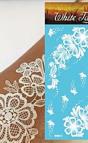 King Horse®Henna White Color Wedding  Tattoo Stickers   Non Toxic/Wedding /Hawaiian  20.5*10cm Flower Series 5pcs