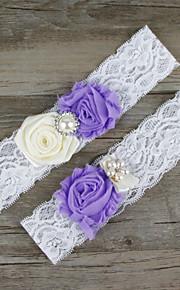 Stretch Satin / Lace Wedding Bride Elegant Garter with Flower / Imitation Pearl