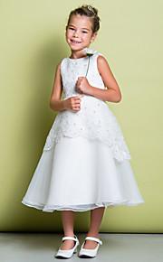 Lanting Bride A-vonalú Tea-hossz Virágoslány ruha - Csipke / Organza Ujjatlan Mély dekoltázs val vel Gyöngydíszítés / Csipke