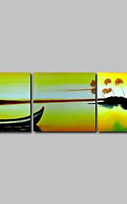 håndmalede olie maleri på lærred væg kunst moderne Seascape solskin bådene hjem deco tre panel klar til at hænge