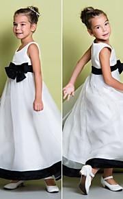 Детское праздничное платье - Трапеция Длина по щиколотку Без рукавов Органза