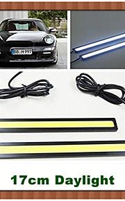 2stk hry® 17cm 600-700lm kørelys hvid / blå farve lys cob DRL vandtæt dagslys (12v)