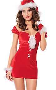 Christmas Costume Women's Performance Polyester Red Sexy Cute Feathers Dress with Hat / Gloves