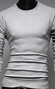 Masculino Camiseta Casual Cor Solida Elastano Manga Comprida Masculino