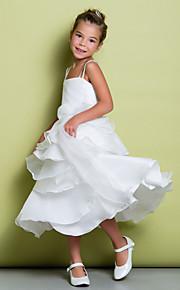Детское праздничное платье - Трапеция Длина ниже колен Без рукавов Органза / Тафта