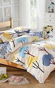 남자와 여자 침대 시트 중국 mingjie® 파란색과 노란색 관목 여왕과 트윈 사이즈 샌딩 침구 세트 4 개