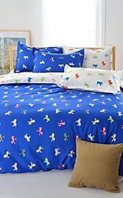 mingjie® 남자와 여자 침대 시트 중국 파란 만화 말 여왕과 트윈 사이즈 샌딩 침구 세트 4 개