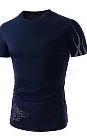 Katoen / Nylon - Effen - Heren - T-shirt - Informeel / Werk / Formeel / Sport / Grote maten - Korte mouw