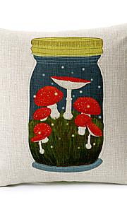 Mushroon in Bottle Cotton/Linen Decorative Pillow Cover