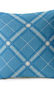 Stylish Blue Geometric Cotton/Linen Decorative Pillow Cover