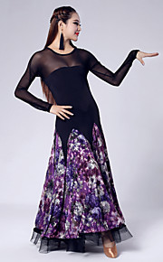 High-quality Printed Velvet Pattern and Tulle Ballroom Dance Dresses for Women's Performance (More Colors)