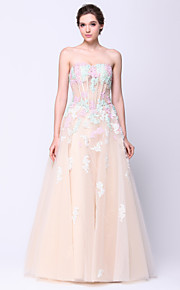 TS Couture® Formal Evening Dress A-line Strapless Floor-length Tulle with Flower(s)