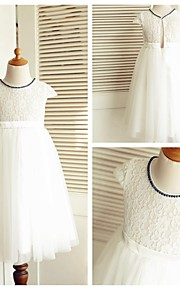 A-linje Knelengde Blomsterpikekjole - Blonde / Tyll Kort Erme