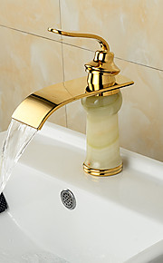 moderne waterval messing imitatie jade ti-PVD badkamer wastafel kraan - golden