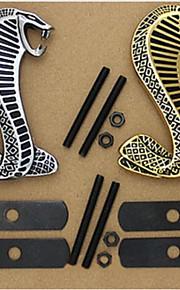 3d metal krom mærkat bil gitter dreje logo cobra emblem shelby mustang carros bil styling