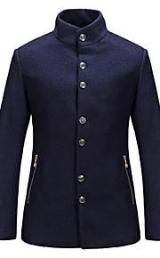 Cappotto Uomo Casual / Da ufficio / Formale Tinta unita Cotone Manica lunga-Blu / Rosso