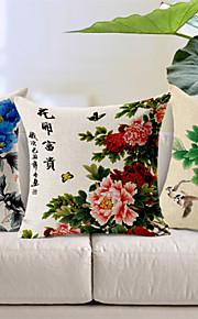 Set of 3 Beautiful Flowers Cotton/Linen Decorative Pillow Cover