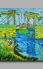 Ready to hang Stretched Hand-Painted Oil Painting Canvas Abstract Van Gogh repro Langlois Bridge at Arles One Panel