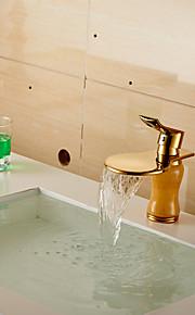 רז עכשווי אלגנטי כיור גדול רחב-פה חיקוי מפל ירקן חדר אמבטיה (קצר) - זהב