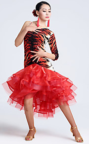 Imported Nylon Viscose with Animal Print Latin Dance Dresses for Women's Performance(More Colors)