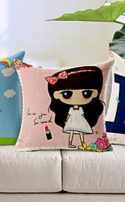 Set of 3 Happy Girl Cotton/Linen Decorative Pillow Cover
