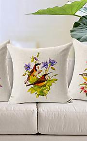 Set of 3 Country Birds Love Cotton/Linen Decorative Pillow Cover