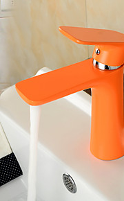 מיקסר פליז ציור עכשווי צבע כתום חם וקר יחיד חדר אמבטיה ידית ברז כיור אגן