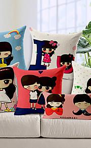 Set of 6 Romantic Love Pattern Cotton/Linen Decorative Pillow Cover