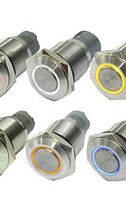 10stk 16 mm uden lås knappen skifter automatisk førte lyser rødt blå grønne knap omskifter 12 v