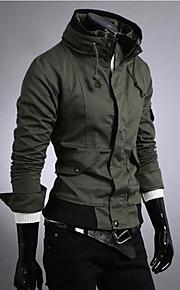 Мужской На каждый день / Для офиса / Для занятий спортом Мужской Куртка Однотонный , Длинный рукав , Лён / Полиэстер