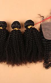 SLOVE волос топ 7а необработанные человека девственные Малайзии странный фигурные девственные волосы пучки с шелковой закрытия 4 шт /