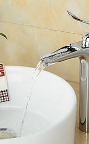 modieuze messing verchroomd waterval badkamer wastafel kraan - zilver