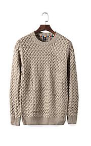 Katoen / Wol - Effen - Heren - Normaal - Pullover - Informeel - Lange mouw