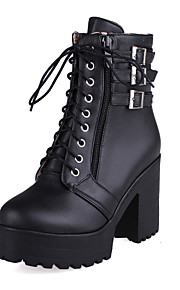 Women's Shoes Leatherette Chunky Heel Round Toe Boots Casual Black / Brown / White / Beige